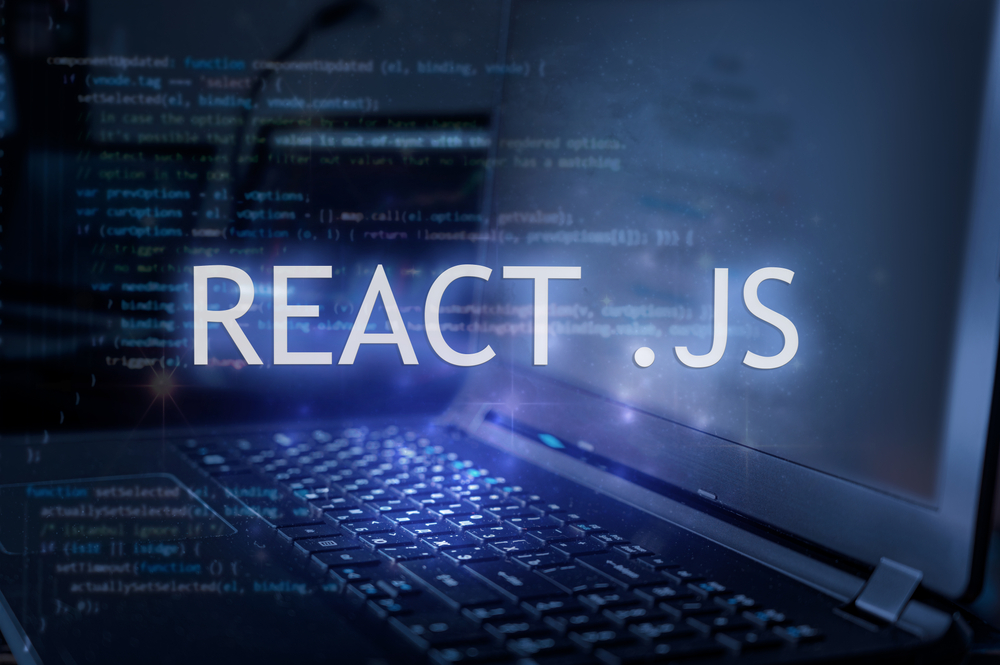 React,.js,Inscription,Against,Laptop,And,Code,Background.,Learn,React