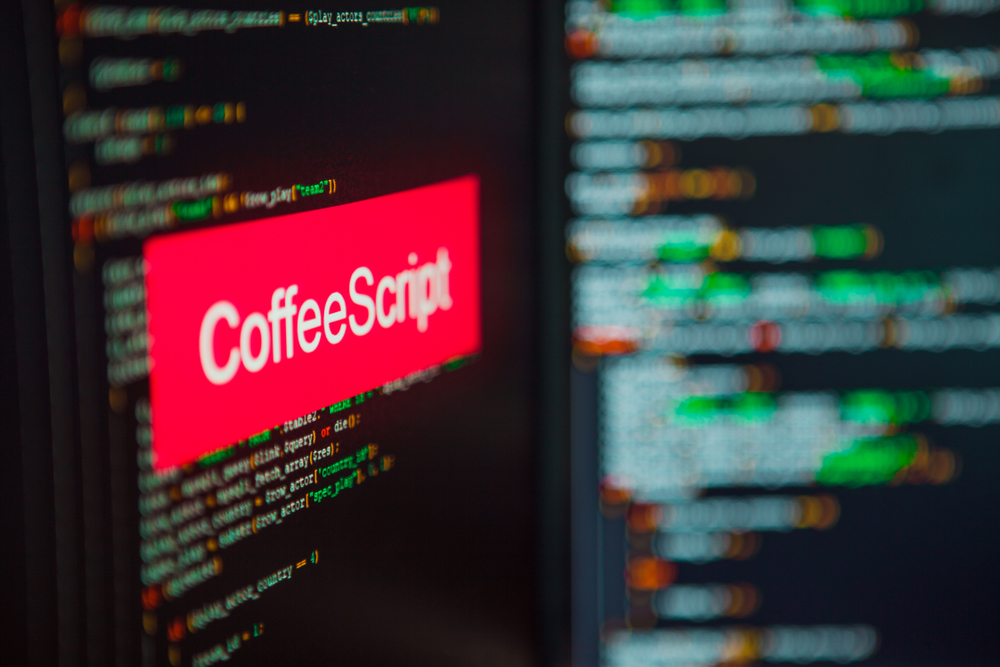 Programming,Language,,Coffeescript,Inscription,On,The,Background,Of,Computer,Code.